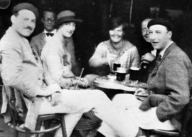 Ernest Hemingway with Lady Duff Twysden, Hadley, and friends. Spain, July 1925