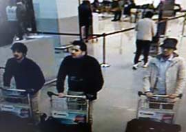 Brussels bombing suspects captured on CCTV. (Wikimedia Commons)