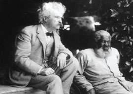 Mark Twain and his friend John Lewis in 1903