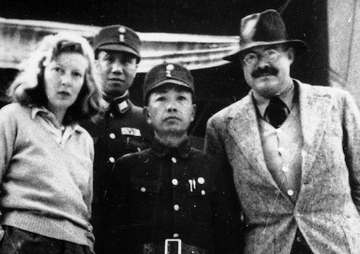 Martha Gellhorn and Ernest Hemingway with unidentified Chinese military officers, Chungking (Chongqing),1941