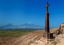 Khor Virap Monastery in Armenia close to Turkish border